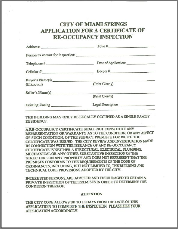 Re Occupancy Inspection Certificate Application City Of Miami