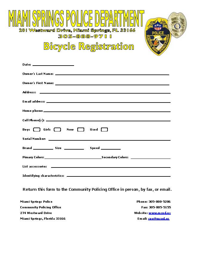Bicycle Registration Form  City Of Miami Springs Florida Official