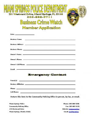 Business Crime Watch Form