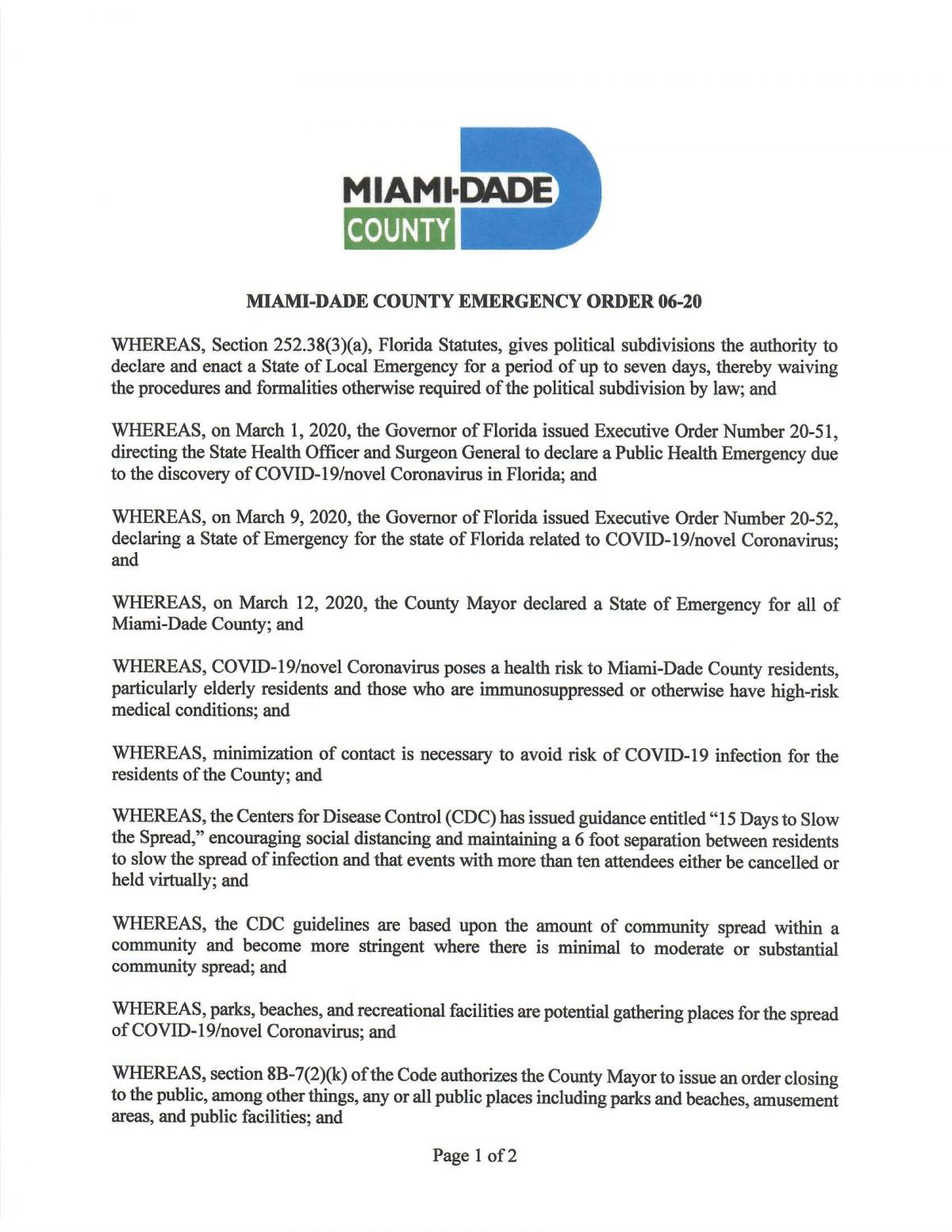 Miami Dade County Mayor Gimenez Emergency Orders City Of Miami Springs Florida Official Website