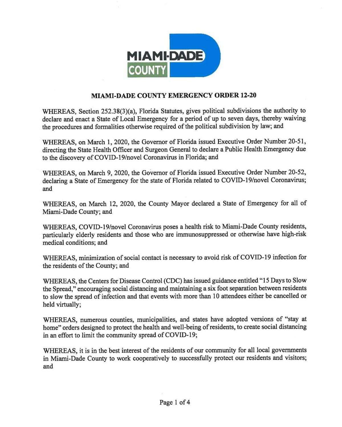 Miami Dade County Emergency Order 12 20 City Of Miami Springs Florida Official Website
