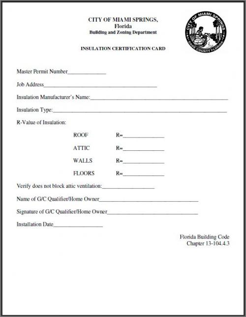 Insulation Certificate Card | City of Miami Springs Florida ...