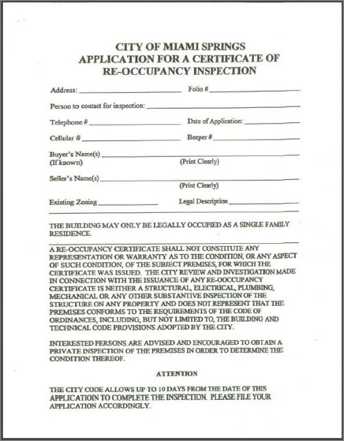 Re Occupancy Inspection Certificate Application City Of