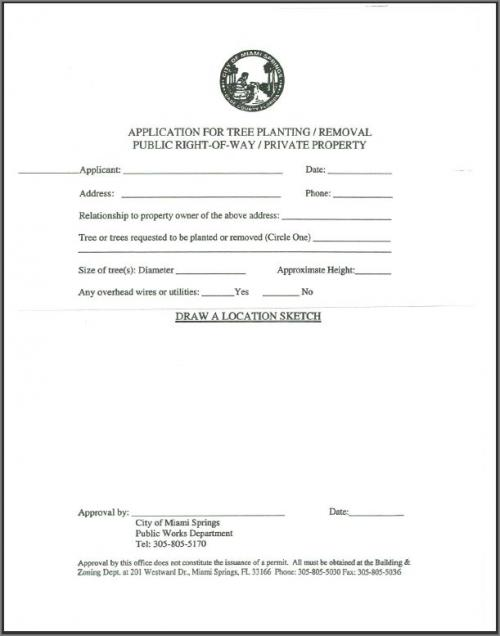 Tree Planting And Removal Permit City Of Miami Springs