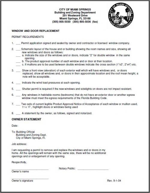 Window And Door Replacement Permit City Of Miami Springs