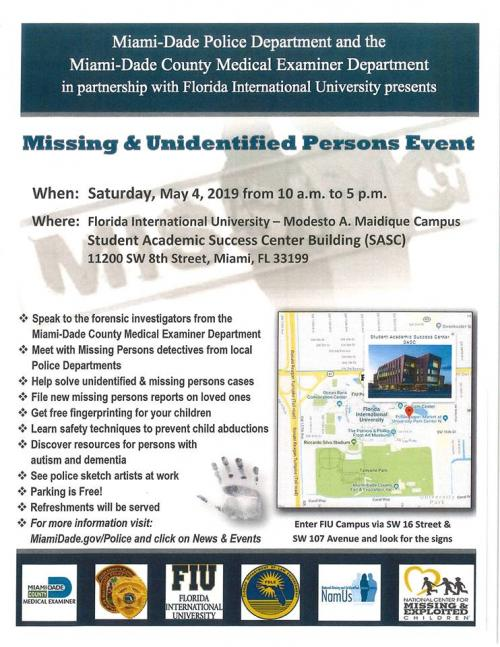 Missing & Unidentified Persons Event | City of Miami Springs Florida