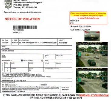 Superb Sample Of Red Light Camera Notice Of Violation Awesome Ideas
